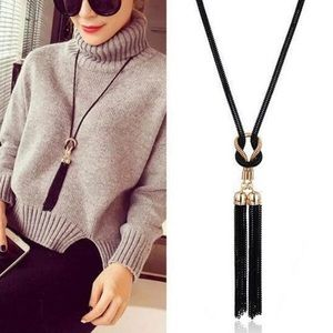 Jewelry - YouR Style- Black Chain Bow Tassel Boho Necklace